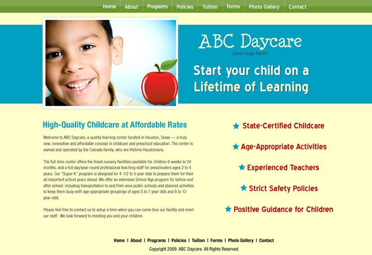 Daycare Website Templates. daycare template options childcare ...